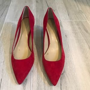 Ann Taylor Red Suede Heels Size 8